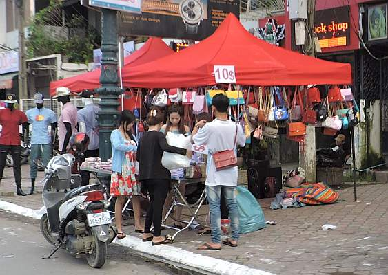 Pop up shop on sidewalk